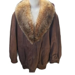 Vintage Leather and Fur Coat Size M